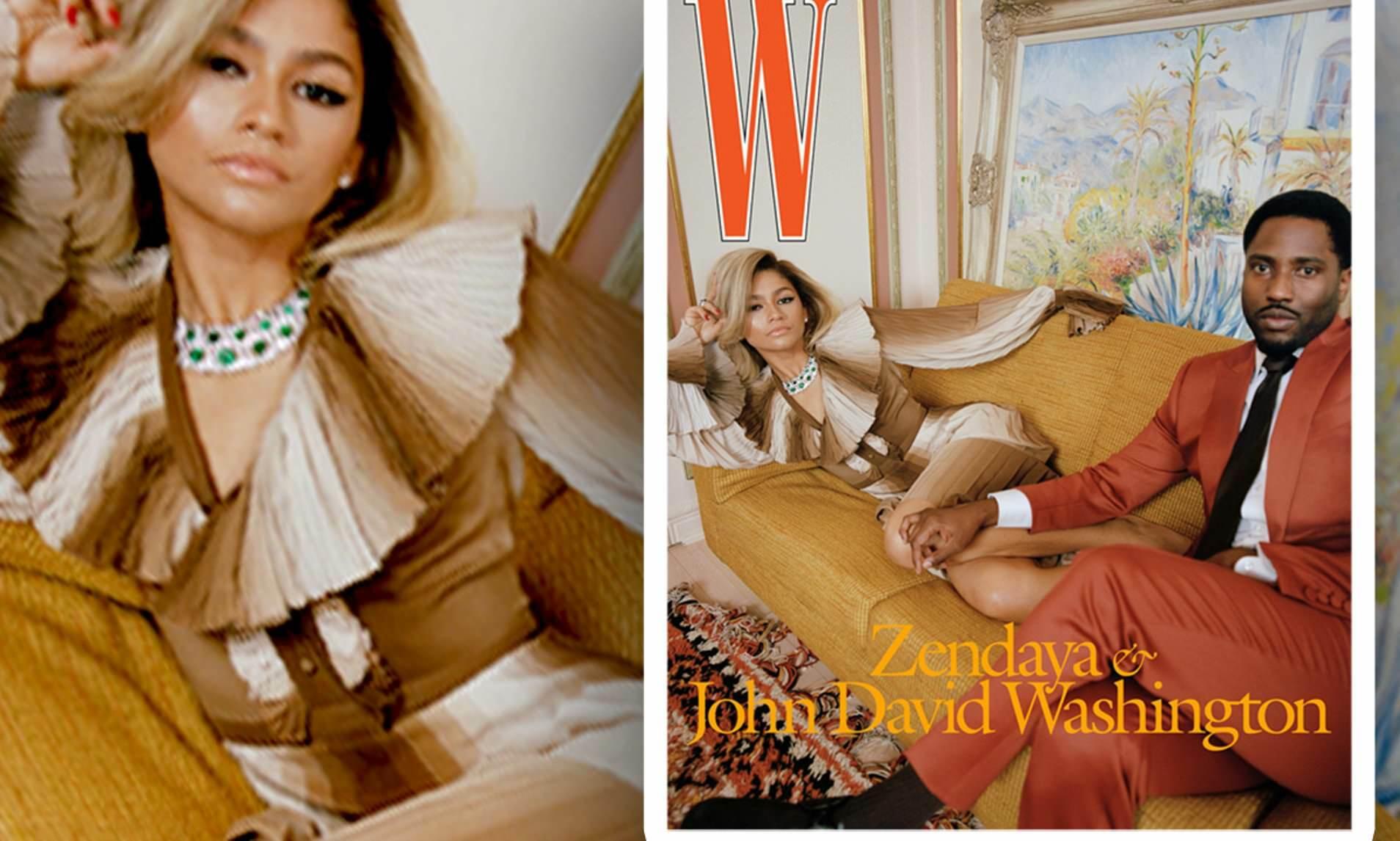 Zendaya Stuns in Gorgeous Gucci Dress on Front Cover of W Magazine with John David Washington!!!