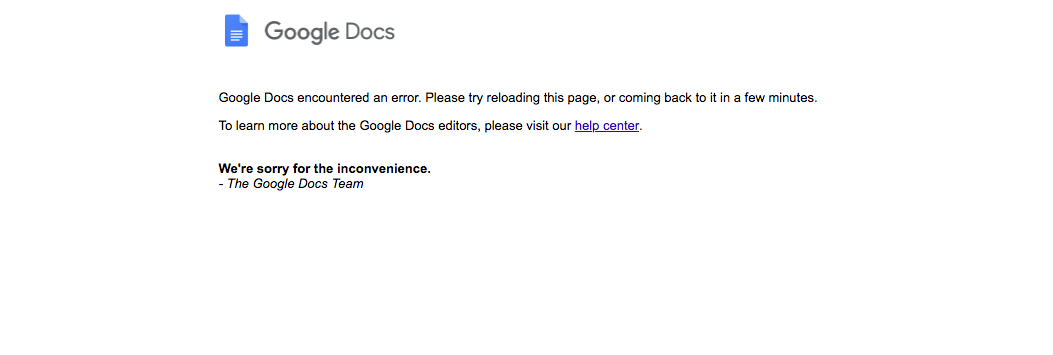 Google Docs not working: How long will Google Docs be down for?