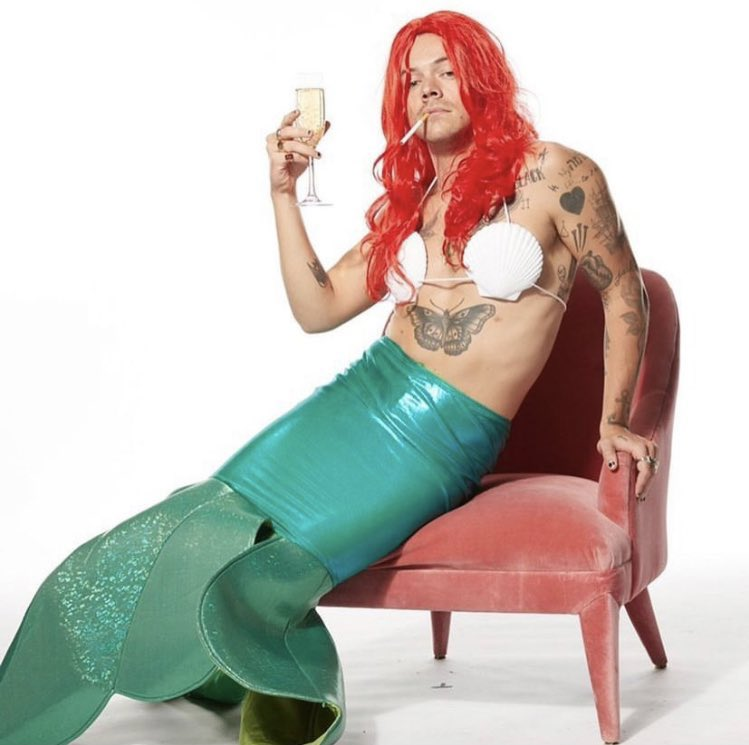 Photographs of Harry Styles dressed as Ariel from 'The Little Mermaid' circulate around the web