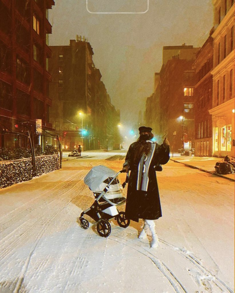 Gigi Hadid with her daughter Khai where she experience her first snow