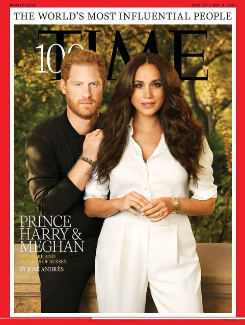 Prince Harry and Meghan Markle in the cover page of Time Magazine