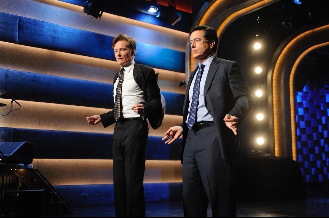 Stephen Colbert Reacts to Conan O'Brien's Surprise Interruption During his Group's Emmy Acceptance